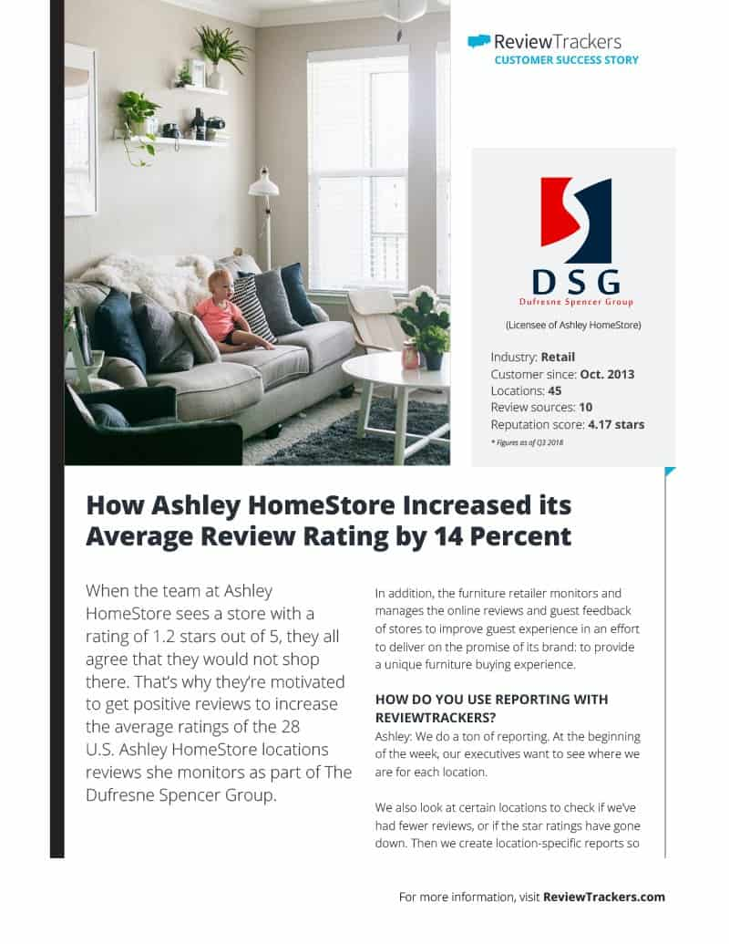 Reviewtrackers Customer Success Story Ashley Homestore