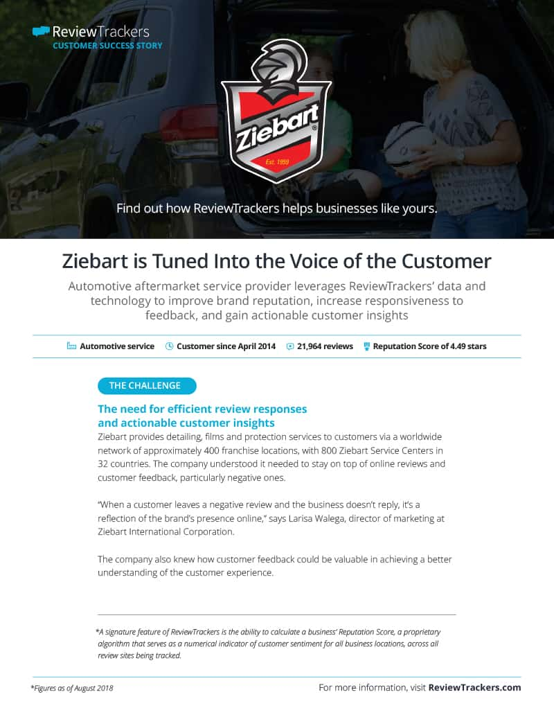 Ziebart case study from ReviewTrackers