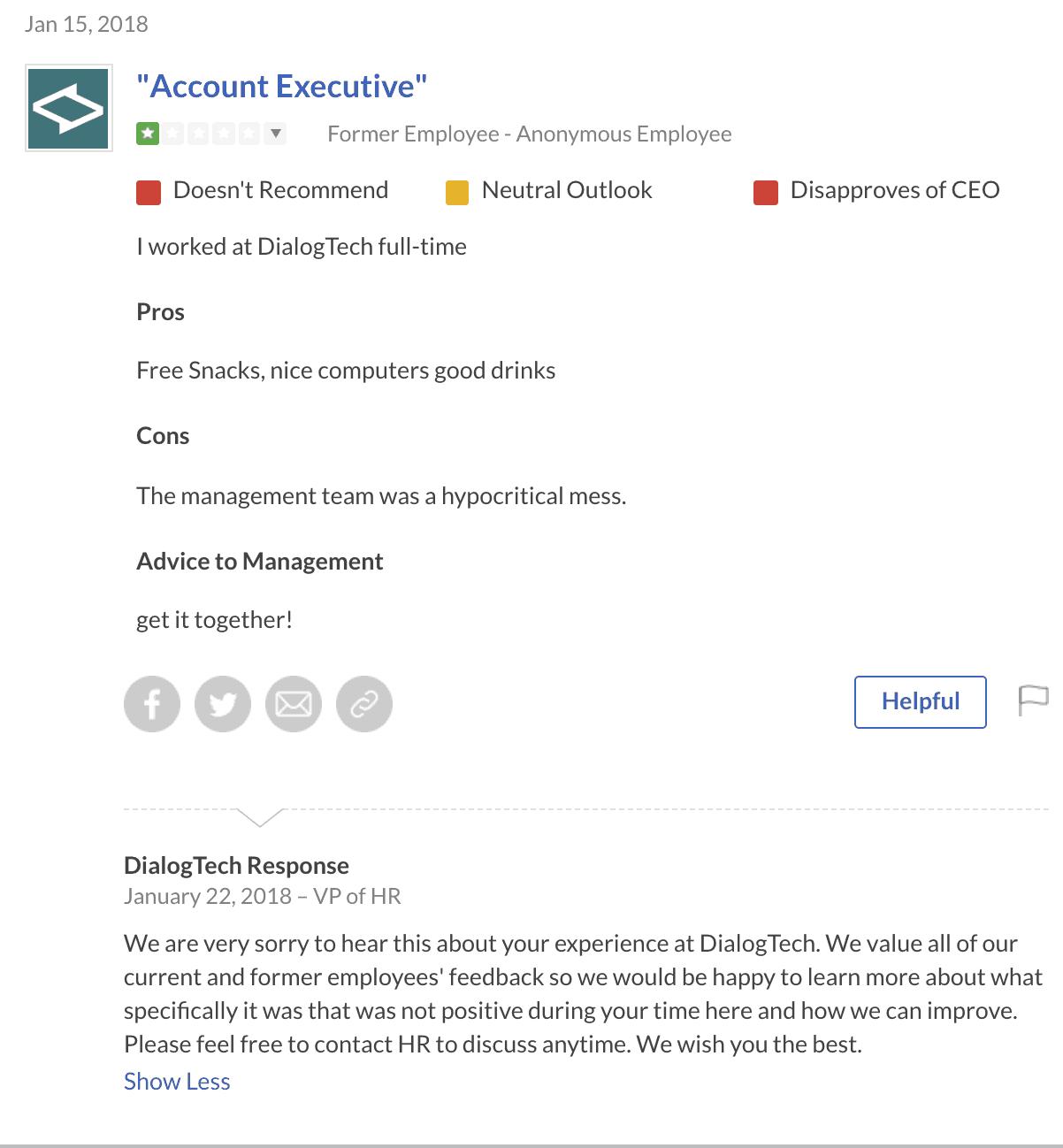 responding to negative reviews on glassdoor