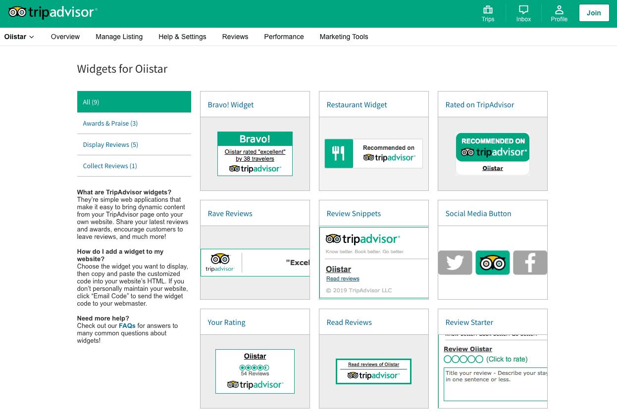 tripadvisor widget center