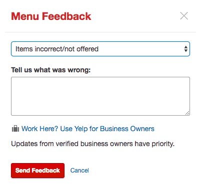 edit menu yelp business account