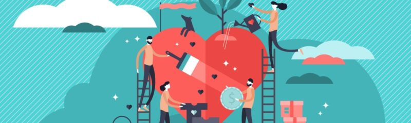 people working together to repair the heart of a business
