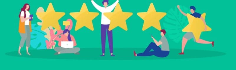 a group of people next to star ratings to describe the customer experience in marketing