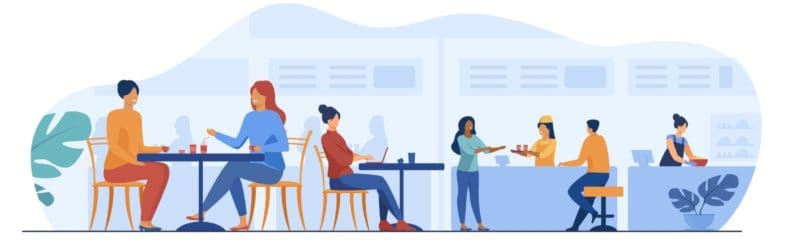 an illustration of people sitting down at a restaurant