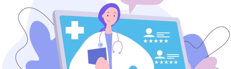 an illustration of a female doctor with patient reviews which shows the importance of doctor review sites
