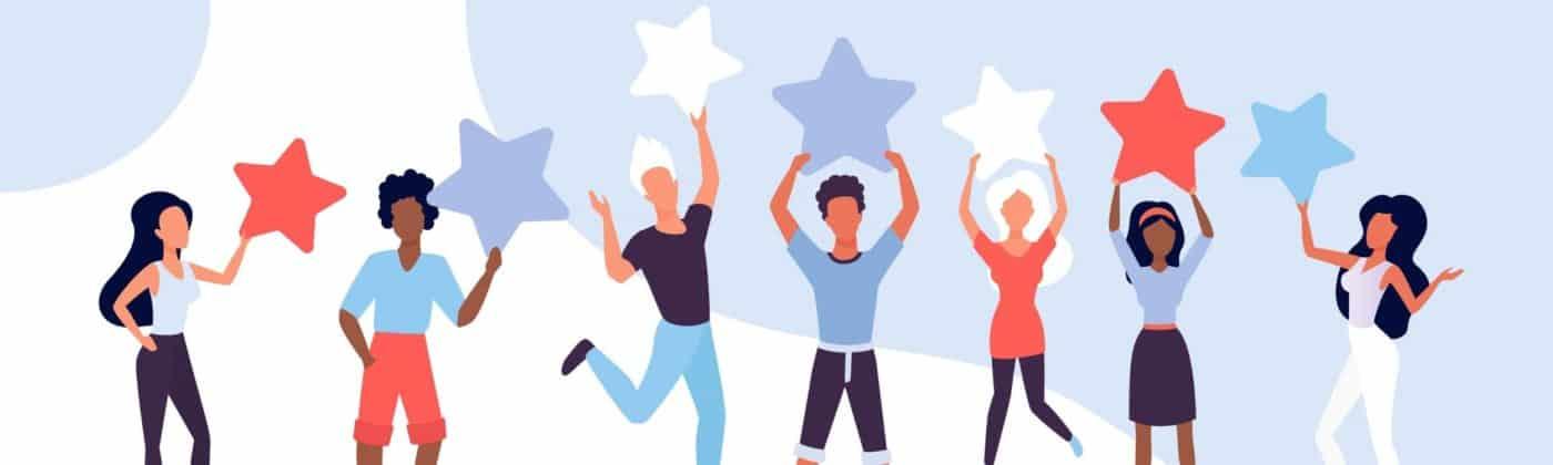 un groupe de personnes tenant une étoile au-dessus de leurs têtes pour symboliser les commentaires Facebook