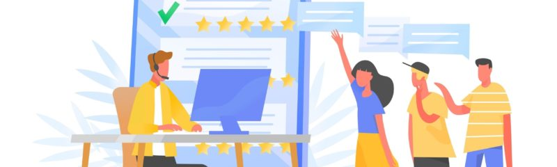 an illustration of someone learning how to get google reviews while customer leave feedback