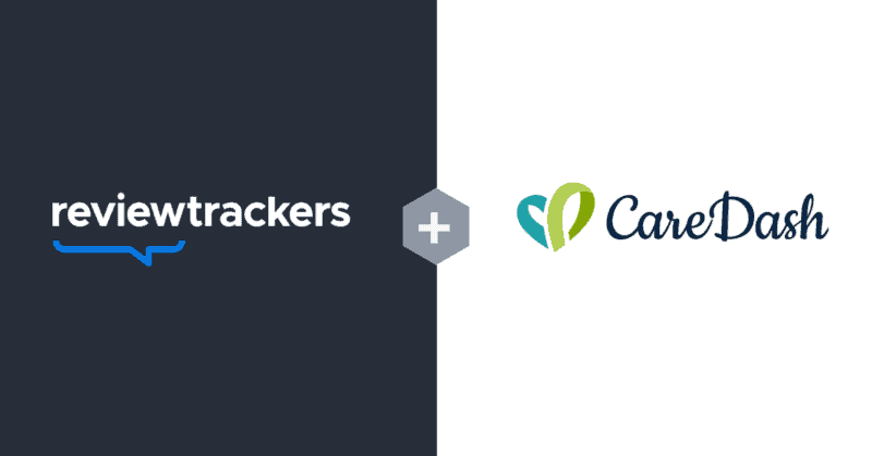 a graphic showing the partnership between reviewtrackers and caredash