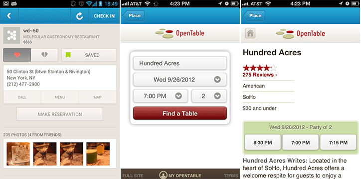 Now You Can Make InApp OpenTable Reservations On Foursquare - Table reservation app